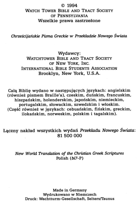 Chrześcijańskie Pisma Greckie w Przekładzie Nowego Świata
