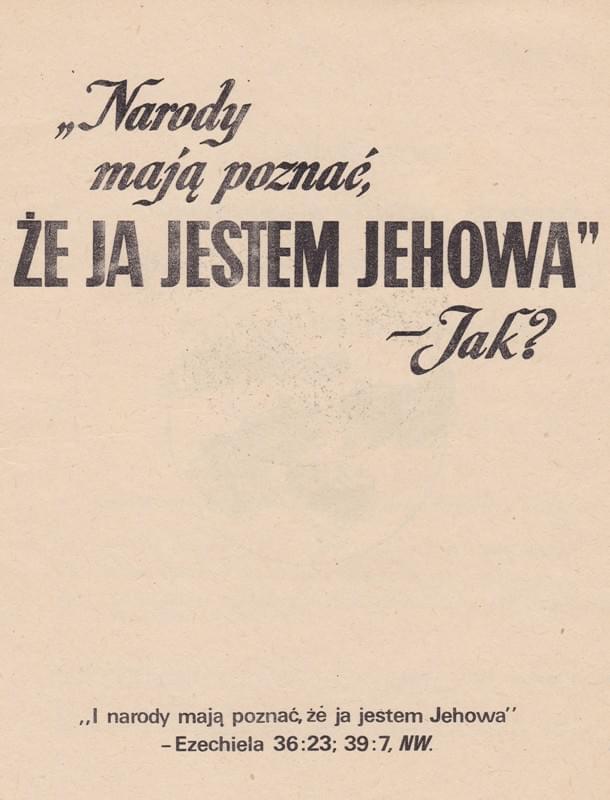 (Narody mają poznać, że Ja jestem Jehowa - jak?