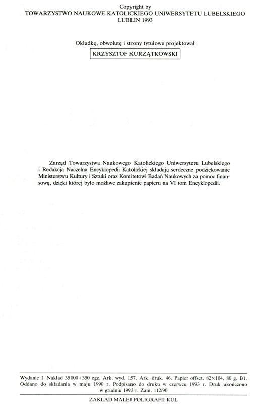 Encyklopedia Katolicka Tom VI