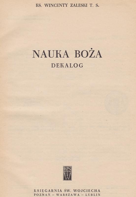 Nauka Boża Dekalog wyd.1960