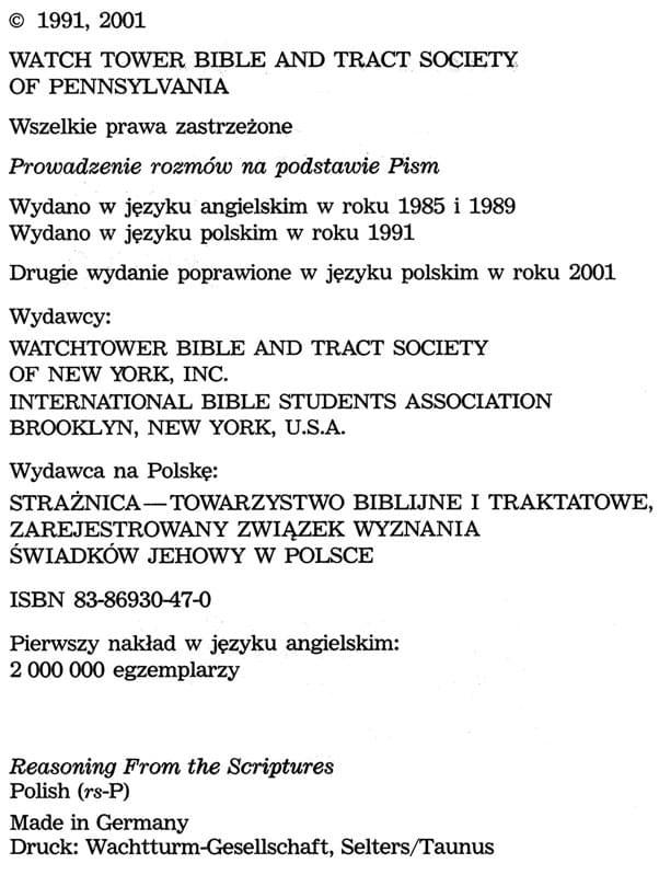 Prowadzenie rozmów na podstawie Pism, wyd.2001