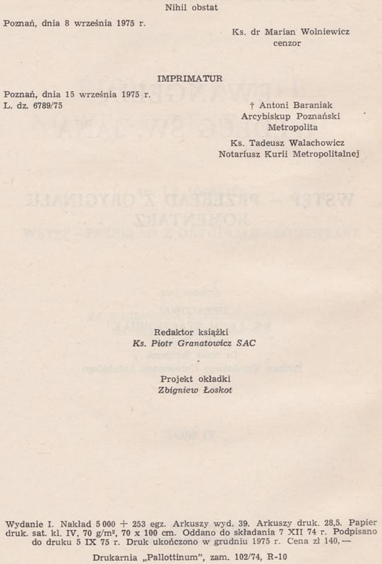 Ewangelia wg. św. Jana Komentarz KUL