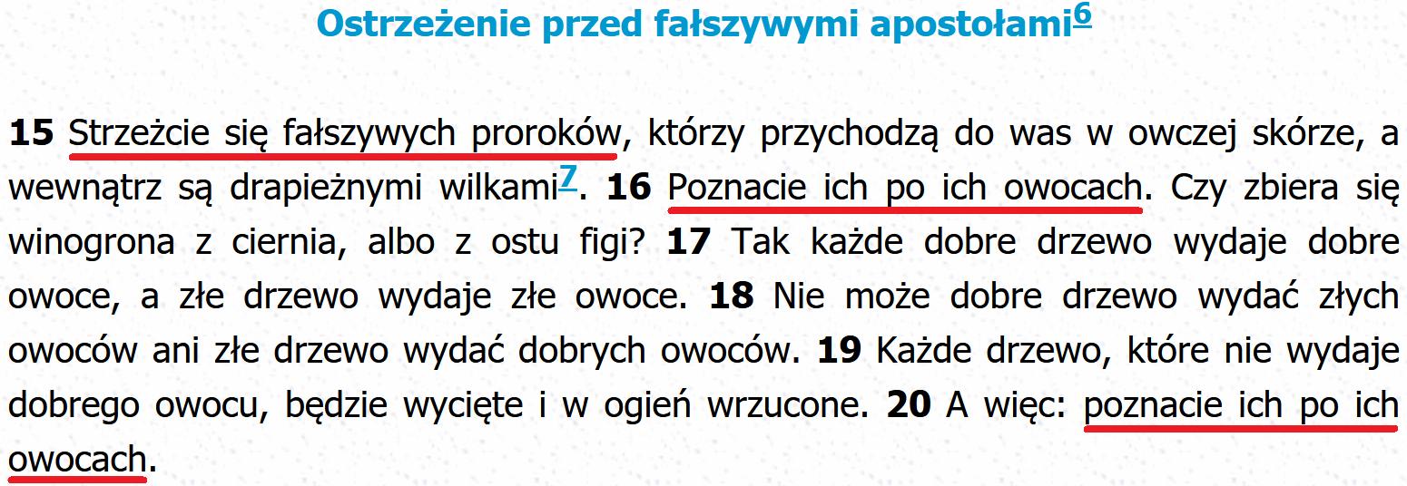 Biblia Tysiąclecia Mt 7, 15-20