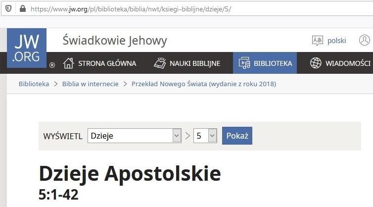 Biblia Świadków Jehowy na jw.org