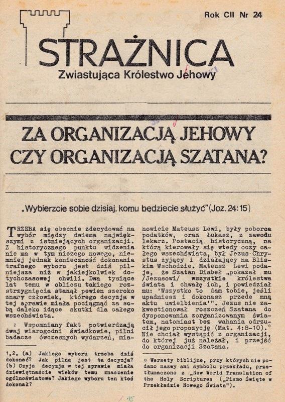 Strażnica Rok CII [1981] Nr 24