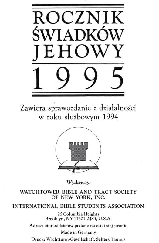 Rocznik Świadków Jehowy 1995