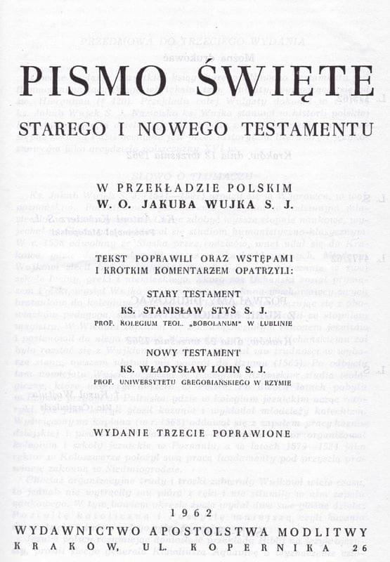 Biblia o. Jakuba Wujka
