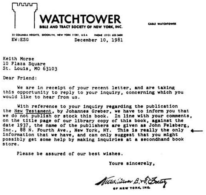 Watchtower letter