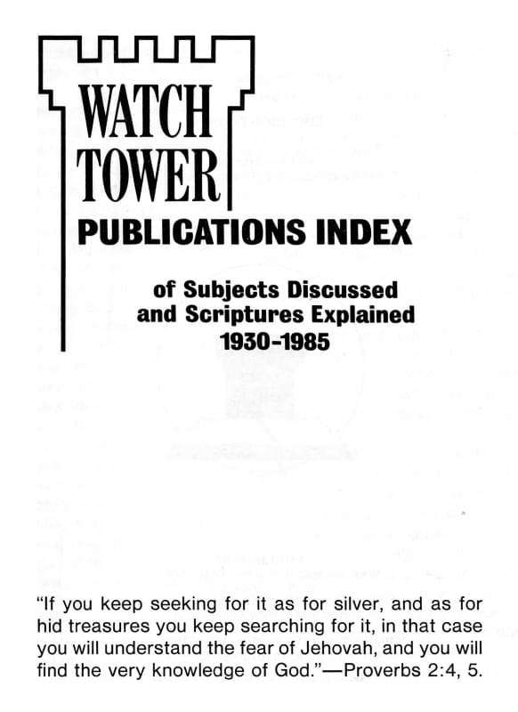 Publications index Watchtower
