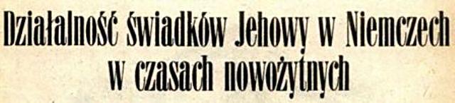 Działalność Świadków Jehowy w Niemczech