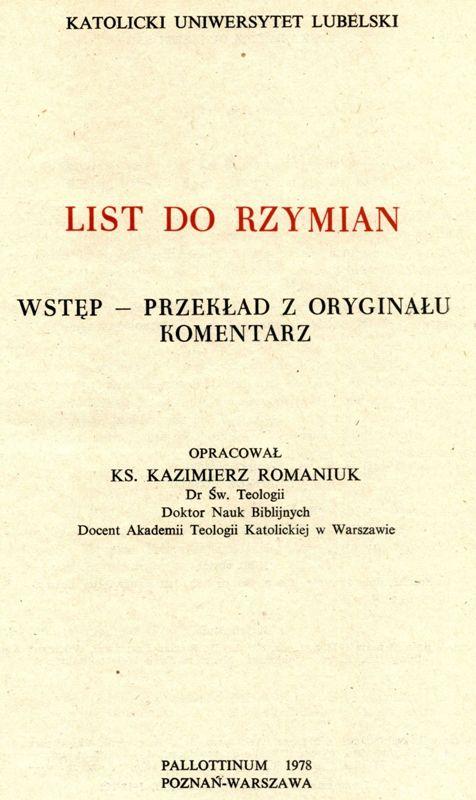 Komentraz KUL List do Rzymian
