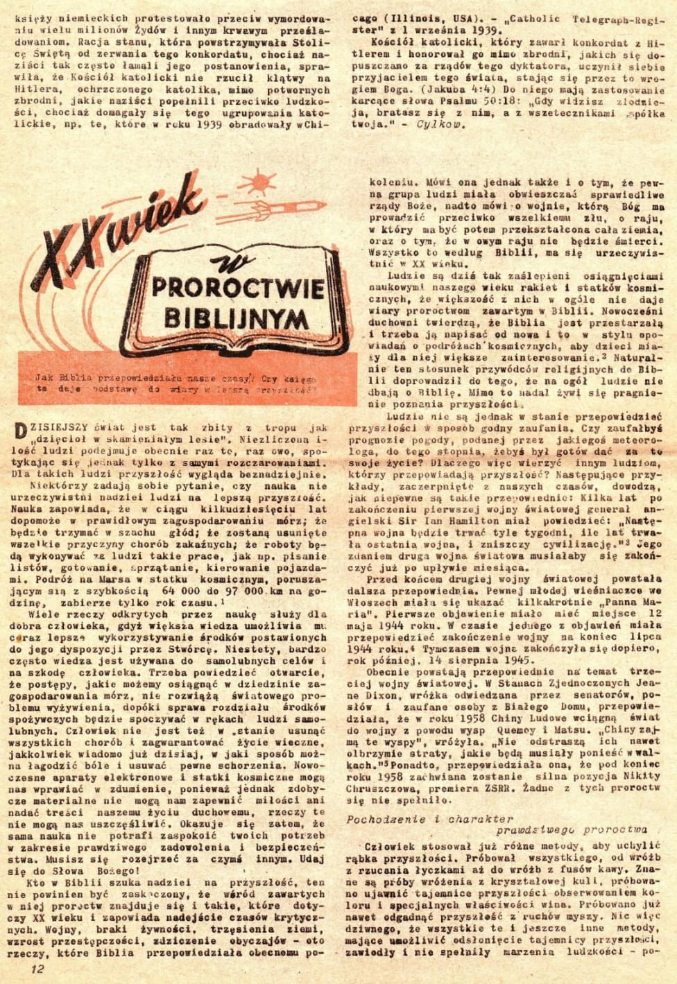 1. Przebudźcie się! Nr 11 z lat 1960-1969, art. XX wiek w proroctwie biblijnym, s. 12 (Awake! February 22, 1961 pp. 4-6).